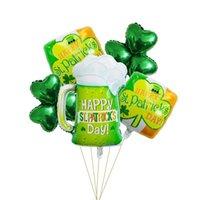 5 teile / satz St. Patrick's Day Ballon Dekoration Grüne Shamrock Klee, Irish Festival Bierglas Aluminiumfolie Ballone JK2102KD
