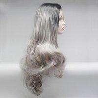 합성 가발 긴 바디 웨이브 내열성 회색 컬러 머리카락 여성을위한 아기 레이스 전면 일일 가발