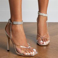 Sandals Ladies Shoes Stiletto Heels Drop Transparent Clip Toe Narrow Band Women Gladiator Fashion Crystal Ankle Strap