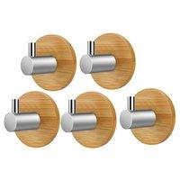 5 шт. Самоклеящиеся настенные крюки с деревянным базой Домашняя кухня Ванная комната полотенце одежда Вешалка настенный крючок