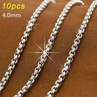 Mens long necklace size 4mm square rolo Chains Stainless Steel Necklace JEWELRY bulk 4.0 F pearl
