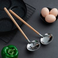 Japanese Style Beech Wood Handle Soup Spoon Stainless Steel Soup Ladle Long Handle Wooden Spoon Kitchen Cooking Utensil LX3993