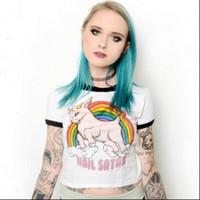 Granizo satan t shirt mujeres sexy cultivo top camiseta chica fiesta unicornio tshirt bustier ropa calle ropa casual 2021