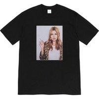 [고품질 가로류] SUP 12SS Kate Moss Photo Tee Leopard Print Smoking Character 사진 반팔 티셔츠