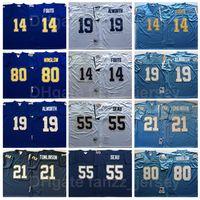 NCAA Vintage Football Retro 55 младший Seu Jersey 14 Dan Fouts 19 Lance Alworth 80 Kellen Winslow 21 Tomlinson сшитый фиолетовый синий