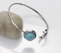 Brand Designer Fashion Lady Turquoise Bangles Donne Boutique Moon Shape Round Stone Polsino Bangles PS2885