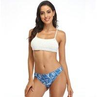 2021 Mujeres de baño Hecho a mano Sexy Fishnet Ganchillo de ganchillo tejido Punto Tassel Tassel Dos piezas Bikini Set Female Traje de baño