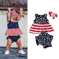 Clothing Sets Baby & Children's American Flag Print Independence Day Kids Clothes Holiday Summer For Girls