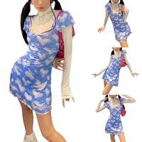 Casual Dresses Women Lettuce Trim Dress Adults Cloud Heart Print Short Sleeve Square Collar With Bowknot Beautiful