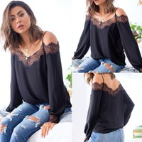 2021 Sexy Off Shoulder Lace Patchwork Strapless Long Sleeve ...