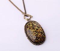 Pullover Kette Leoparden-Druck Geometrische große Anhänger Halskette Frauen Accessoires Billig Vintage Halskette Großhandel