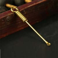 Nuevo latón Cuchara de cobre Tubería de fumar herramienta de limpieza Dab Dabber Spoon Dabber Wax Tool 77mm Longitud Envío gratis