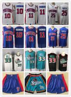 ErkeklerinDetroitPistonlarGerileme Grant 33 Hill Isiah 11 Thomas Dennis 10 Rodman Mavi Beyaz Basketbol Şort Basketbol Formaları