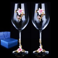 Wine Glasses 1 Pair European High-grade Creative Enamel Crystal Glass  Red Goblet With Diamond  Wedding Gift Glass Cup