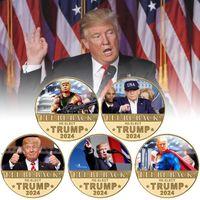Трамп 2024 монета памятная ремесло ремесленное судно Сохранить Америку снова металлический значок, я верну DWB8959