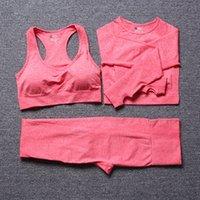 Yoga Sets Femmes Gym Vêtements Entraînement Fitness Costume à manches longues Crop Top Pantalon Pantalon Soutien-gorge Sortie High Taille Jambières sans couture