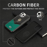 Luxury Carbo Fiber Case for iPhone 12 Mini 11 Pro Max XR XS 7 8 Plus Full Protective Soft Alligator Grain Leather Back Cover Shockproof