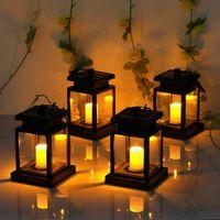 Solar Powered LED Outdoor Twinkle Candela Lanterna Lampada da esterno Della Lampada da giardino Diario Della Decorazione Giardino Luce calda fiamme lampeggiante Lampada da tè lampeggiante