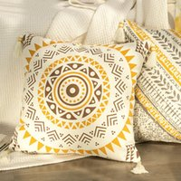 Cushion Decorative Pillow DUNXDECO Cushion Cover Decorative Case Simple Yellow Leaf Print Cotton Tassel Coussin Home Room Sofa Chair Decorat