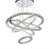 Световой светильник Nordic Chastelier Современная подвеска лампы роскошный алмаз K9 хрустальные кольца висит лампа 5 круг хромированные люстры индуисты