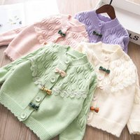 Pullover Bow Lace Hollow Cardigan Girls Sweater Children's Clothing Wholesale.
