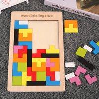 الملونة 3d لغز خشبي Tangram الرياضيات تتريس لعبة الأطفال ما قبل المدرسة الماجستير التعليمية لعبة التعليم الفكري للأطفال