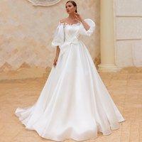 Puff Sleeve Wedding Dresses Bridal Gowns 2021 Appliqued Chic Satin A Line Plus Size Beach Princess Long Bride Dress Vestido de Noiva