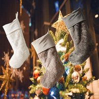 Christmas Stocking Santa Claus Gifts Sock Faux Plush Socks Comfort Soft Candy Bag Xmas Decor Party Gift For Friend