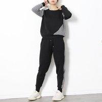 Pantalon de deux pièces pour femmes Température de la mode hiver Loisirs Col rond mille oiseau treillis pull + Tube à taille haute