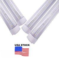 Stock In US + 8ft led tubes light 144W Integrated T8 tube 8 feet double Sides 768 LEDs 14400 Lumens AC 110-240V V-shape Lighting OEMLED
