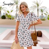 Simplee Sexy Polka Dot Gedruckt V-Ausschnitt Kleid Sommer Ausröckende Hülse Hohe Taille A-Linie Frauen Kurze Kleid Mode Kurzarm
