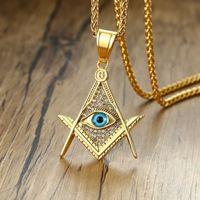 Zorcvens -mason of Providence Illuminati Pyramid Все, видя глазные подвески для мужчин из нержавеющей стали CZ CZ Камень панк ожерелье