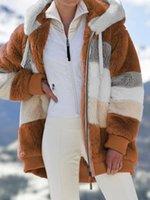 Women's Jackets Casaco de inverno feminino novo solto pelcia costura com capuz cardigan calor das mulheres listrado reunindo jaqueta NVTU