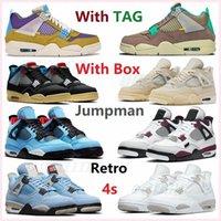 air jordan jordans aj4 4s retro retros jumpman Men and Women 4 4S Basketball shoes University Blue Campus Royal Vintage Cement League sail Metal covered Fire Red goyave Ice shoes