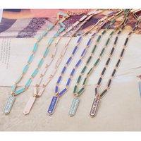 Chokers Short Necklace Bohemia Fashion Metal Pendant Geometric Rectangle Dripping Oil Jewelry Wholesa Letter Chain