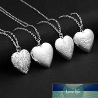 Heart Shaped Photo Frames Can Open Locket Necklaces Carved Flower Engraved Letters I LOVE YOU Album Box Necklace Women Jewelry Factory price expert design Quality