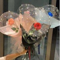 Ballon lumineux à LED Bouquet de rose Bouquet transparent Bubble enchanté Rose avec bâton LED Bobo Ball Saint Valentin cadeau cadeau de mariage de mariage de mariage E121801