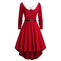 Повседневные платья Дамы Рождество Необычное платье Mrs Santa Claus Slim Fit Chast Xmas Party Cosplay Costumes Plus Размер