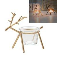 Holder lindo candelabro Crafts Candlestick con vela Copa de cristal Luz Fiesta de reno Fiesta Ornamento de Navidad Decoración del hogar