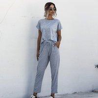 Kadın Eşofman Kadın Setleri Yaz Kısa Kollu 2 adet Eşofman Üst Pantolon Suits Bayanlar Lounge O-Boyun T-Shirt Rahat Düz Renk Elastik Wai