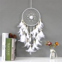 Decorative Objects & Figurines White Rose Dream Catcher Wedding Decoration Feather Crafts Pendant Home Wall Decor Girls Kids Room Bedroom Ar