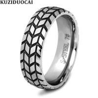 Cluster Rings Kuziduocai 2021 Fashion Jewelry Stainless Steel Mirror Processing Wheel Car Tire Shape Wedding Party For Women Men