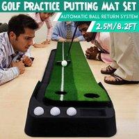 Novo 2.5m Golf Colocando Mat Tapt Putter Trainer Green Putter Tapete Prática Definir bola Retorno Mini Putting Green Fairway