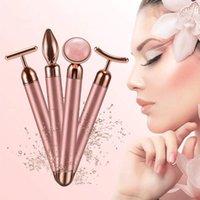 Cleaning 4 In 1 Vibrating Rose Quartz Roller Face Eye Massager Jade T V Shaped Lifting Beauty Bar