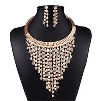 Orecchini Collana Moda Donna Gioielli Set di gioielli Golden Choker Multi Layer Rhinestone Tassel Bib Pendants pendenti Dangle