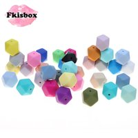 Fkisbox 17MM Hexagon 100pc Silicone Baby Teether Beads BPA F...
