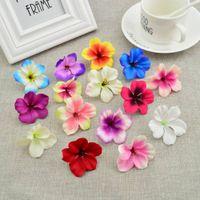 50 pcs barato de seda rosa cabeça orquídea flores artificiais para casa decoração de casamento acessórios Pompon DIY Presente Cereja Bordado