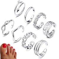 8 stücke Sommer Strand Urlaub Knuckle Fuß Ring Set Open TOE Ringe Für Frauen Mädchen Fingerring Verstellbare Schmuck Großhandel Geschenke