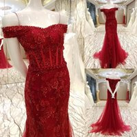 Real Picture Burgundy African Lace Dresses Evening 2018 Cap Sleeve Beading Arabic Mermaid Prom Party Gown Pageant Celebrity robes