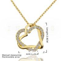 Frete Grátis Coração Branco Cristal 18k Colares De Ouro Para As Mulheres, Brand New Yellow Gold Gem Pingant Colares incluem cadeias 117 U2
